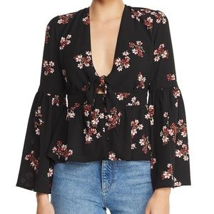 BB Dakota Go With The Floral Tie-Front Top